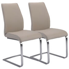2 Pcs Dining Chairs High Back Gray PU Leather Furniture Modern Seat New