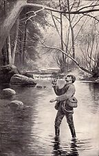 """EARLY ANTIQUE PHOTOGRAPH REPRINT 8X10 TROUT FISHING TITLED """" THE LUCK """""""