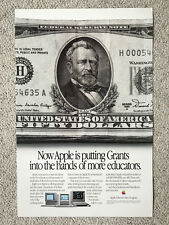 "RARE POSTER ""Now Apple is putting Grants in the hands.."" Apple II and Macintosh"