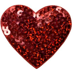 """Red Sequin Heart Applique Patch - Love Badge 2-1/8"""" (Iron on)"""