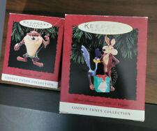 """Hallmark Keepsake Looney Toons """"Tasmanian Devil""""& """"Wile E Coyote"""" Ornaments 1994"""