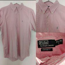 """POLO Ralph Lauren Men's Shirt Custom Fit Pink Striped Short Sleeve L 16.5"""" - 42"""