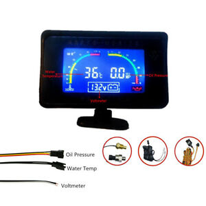 Car Oil Pressure Gauge Monitor+Voltmeter Voltage Meter+Water Temp Gauge Meter