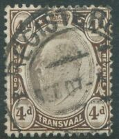 "TRANSVAAL 1907, King EVII 4 d chalk surfaced paper suber used with ""REGISTERED"""