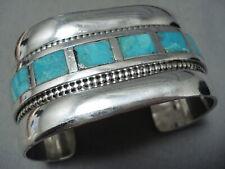 Heavy Huge Vintage Zuni Turquoise Sterling Silver Bracelet Old