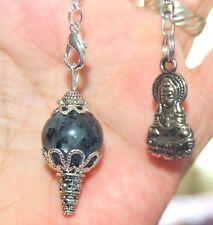 Larvikite Crystal Sphere Ball Pendulum - Pendant & Kwan Yin Charm Protection