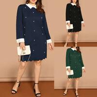 Elegant Women Casual Plus Size Long Sleeve Beading Turn-Down Collar Maxi Dress N