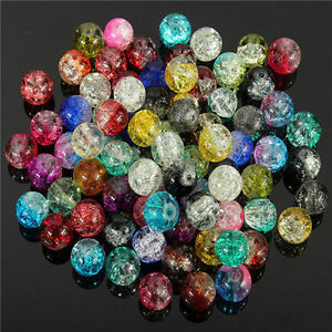 50 100 Mixed Crystal Crack Art Glass Round Loose Spacer Bead Charm Finding 8mm