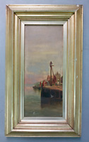 Antique 19th c oil painting harbour scene