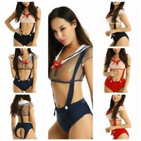 Sexy Women's Sailor School Girl Fancy Dress Costume Uniform Suspender Lingerie