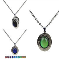 Change Oval Emotion Pendant Necklace Chain Stone Mood Vintage Color