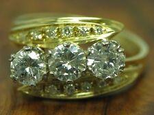 14kt 585 BICOLOR GOLD RING MIT 1,46ct BRILLANT & DIAMANT BESATZ / 4,5g / RG 54