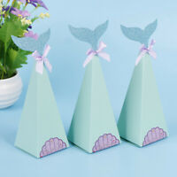 10Pcs Mermaid Gift Boxes Sweet Paper Candy Box Mermaid Birthday Party Decoration