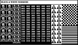BattleTech - 148x Waterslides Decals - Opaque White Markers on Black Background