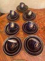 Art Deco Bing & Grondahl Copenhagen Componist Cobalt Blue Coffee Se 7 pieces