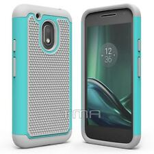 Motorola Moto G4 Play Rubber Dual Layer Impact Shockproof Hybrid Case - Teal