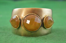 Lovely Lucas Jack Gold Plated Satin Finish Amber Cuff Bangle RD4428