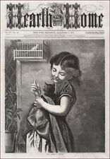 GIRL TELLING HER CAT NOT TO TOUCH PET BIRD IN CAGE scarce antique engraving 1872