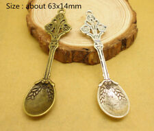 12 Flower With Spoon Tibetan Silver Pendants Jewelry Making Findings EIF0631