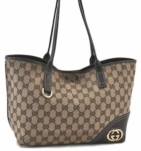 Authentic GUCCI Abbey Shoulder Tote Bag GG Canvas Leather 169946 Brown C2987