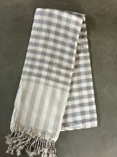 Krama Grey Brown Scarf Cotton Traditional Khmer Cambodia Woven Hand Mixed 96