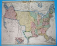 1837 RARE ORIGINAL MAP TEXAS REPUBLIC Austin UNITED STATES WASHINGTON NEW YORK