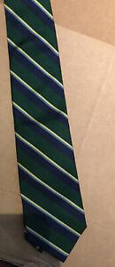 Paul Stuart Vintage Silk Repp  Green Navy Silk Tie Hand Made in USA