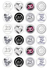 24 25TH SILVER ANNIVERSARY  CUPCAKE TOPPER ICED  ICING EDIBLE FAIRY CAKE TOPPERS