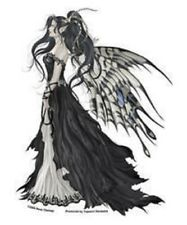 """Nene Regal Black and White Hope Fairy with Butterfly Wings 4""""x 5.5"""" die-cut"""