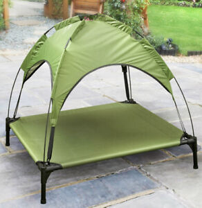 Raised Dog Bed With Canopy Sun Protector Pet Bed Outdoor Waterproof Olive Green