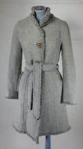 BURBERRY BLUE LABEL GREY TWEED TAILORED BELTED COAT SIZE 38 UK 8