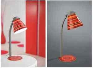 Tischlampe Tischleuchte Rot Grau Metallgehäuse mit Kabel und Schalter LED geeig.