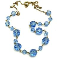 Vintage Costume Jewellery Topaz Blue Glass Bead Necklace