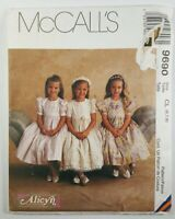 McCalls Alicyn Girls Dress Pattern 9690 Sizes 6 7 8 Flower Girl Party UNCUT VTG