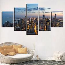 Skyline Night City Landscape 5 Panel Canvas Print Wall Art
