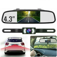 "4.3"" Backup Camera Mirror Parking System Kit Car Rear View Reverse Night Vision"