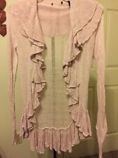 Unbranded Women's Lightweight Cascade Ruffles Long Sleeve Sweater Size XS Pink