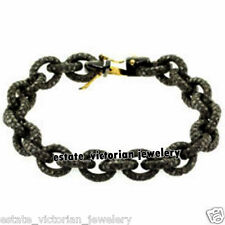 Vintage Antique 14.09cts Natural Rose Cut Diamond Jewelry Silver Link Bracelets