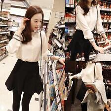 Fashion Korean Women Casual Loose Chiffon Slim Long Sleeve T Shirt Blouse Tops