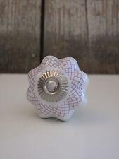 Clayre & Eef - Möbelknopf / Keramik Knauf Blüte - weiß lila - für vintage Möbel