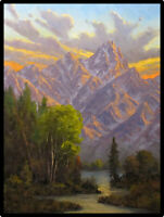 Jeff Love Original Oil Painting Teton Mountains Wyoming Sunset Clouds Landscape