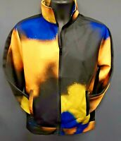 Men's Rebel Minds Front Full Zip Color Bleeding Track Jacket - Black/Yellow/Blue