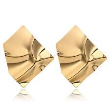 1 Pair Big Geometric Irregular Stud Earrings Gold Silver Tone Women Jewelry Gift