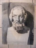 Antoine Jallat Fusain Buste à l'Antique Ecole des Beaux Arts de St Etienne