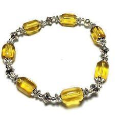 Yellow Stretch Bracelet Beaded Bangle Glass Bead Tibetan Silver Style
