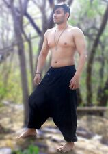 Handmade Men's Hemp Cotton Aladdin Black Harem Pants Hippie Baggy Boho Trouser