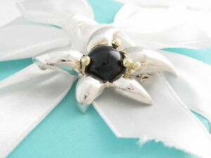 Tiffany & Co Silver 18K Gold Onyx Flower Starfish Brooch Pouch Included