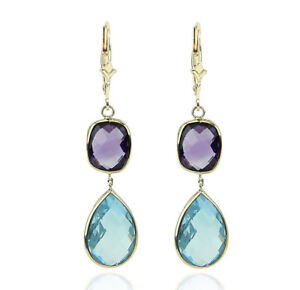 14K Yellow Gold Gemstone Earrings With Dangling Amethyst and Blue Topaz
