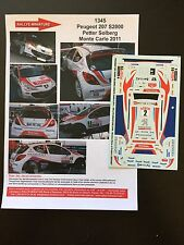 DECALS 1/43 PEUGEOT 207 S2000 PETTER SOLBERG RALLYE MONTE CARLO 2011 WRC RALLY