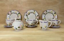 Vintage Tea Set Demitasse-Cwc Basket Weave Floral Design 13 Piece